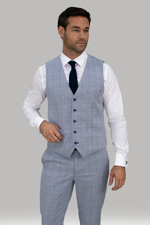 Caridi Slim Fit Sky Check Three Piece Suit