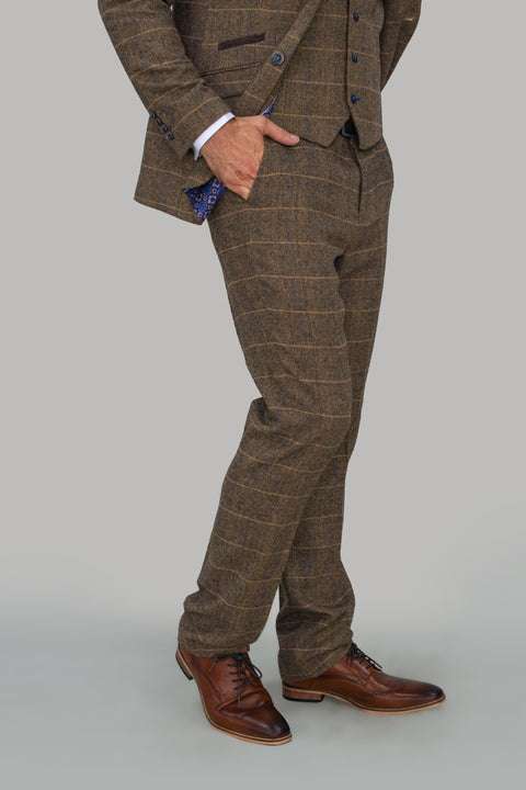 Albert Brown Tweed Check Trousers