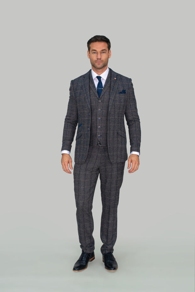 Albert Grey Tweed Check Blazer