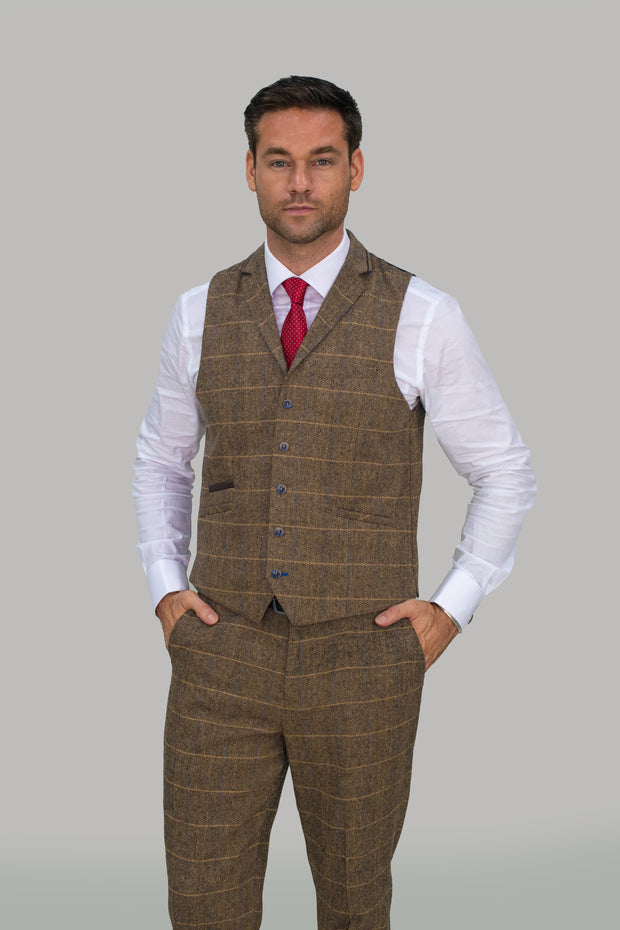 Albert Brown Tweed Check Waistcoat