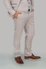 Caridi Beige Slim Fit Trousers