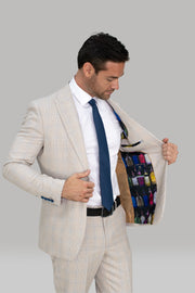 Caridi Slim Fit Beige Check Suit