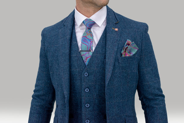 Carnegi Navy Tweed Check Suit