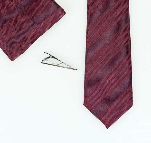 Wine Self Stripe Tie Set - Cavani