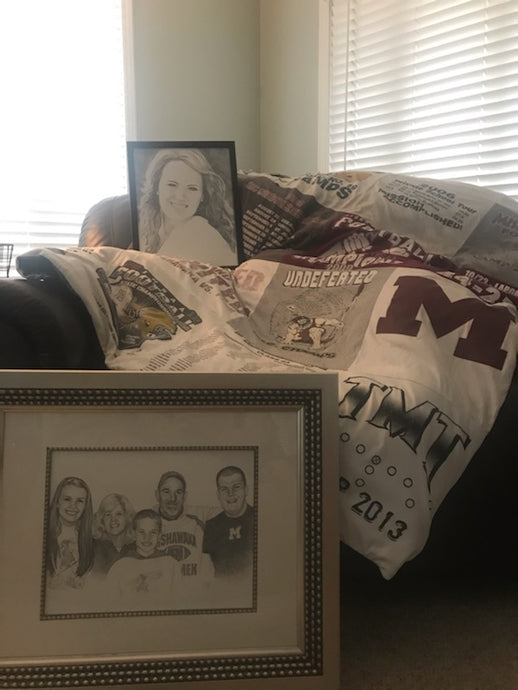 #3- Live Auction for Football: Picture Portrait Drawing of your choice & Custom T-shirt Quilt (Value= Priceless) - Tiger Apparel