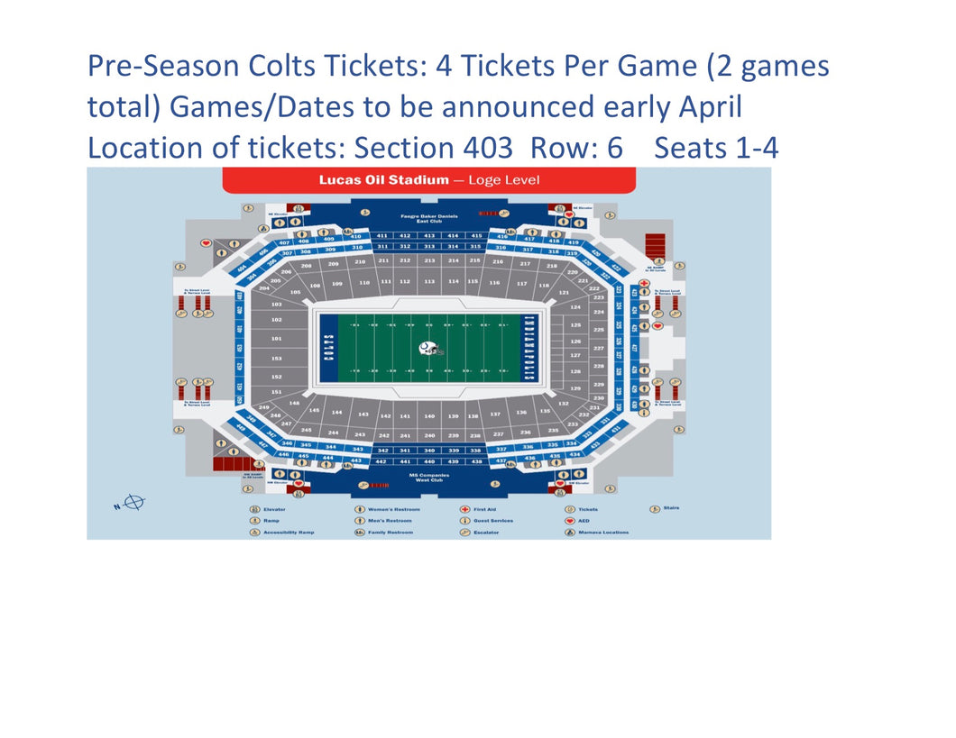 #1 Live Auction for Girls Soccer: 2 Games for Pre-Season Indianapolis Colts (4 tickets/game) ($400 Value) - Tiger Apparel