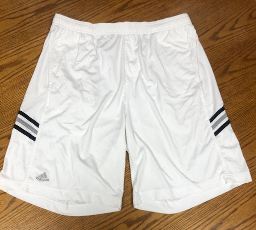 Men's Adidas White Shorts with Stripes - Tiger Apparel