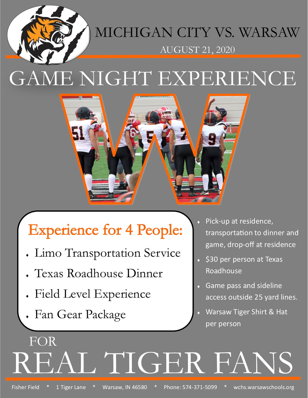 #8 Live Auction for Football: Game Night Experience for four vs Michigan City on 8/21 (Value= Priceless) - Tiger Apparel