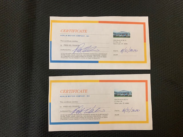 #113- Silent for Boys XC: 2 Oil Change Certificates ($80 Value) - Tiger Apparel