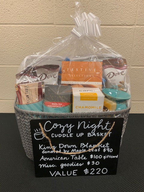 #160- Clearance Auction: Silent for Football: Cozy Night Cuddle Up Basket ($220 Value) - Tiger Apparel