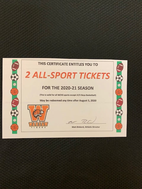#182- Silent for general: 2: 2020-21 WCHS All-Sports Adult passes with cushion seats (342) - Tiger Apparel