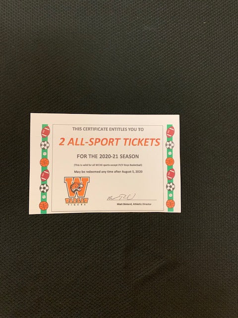 #183- Silent for general: 2: 2020-21 WCHS All-Sports Adult passes with cushion seats (398) - Tiger Apparel