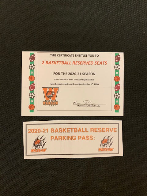 #184- Silent for General: 2 Basketball Reserve seats & Reserve Parking Pass for 2020-21  ($130 Value) - Tiger Apparel