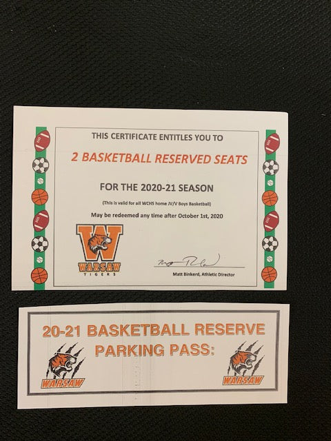 #185- Silent for General: 2 Basketball Reserve seats & Reserve Parking Pass for 2020-21  ($130 Value) - Tiger Apparel