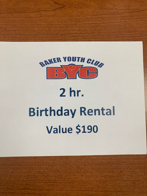 #241- Clearance Auction: Silent for Girls track: Baker Youth Club- 2 hour birthday rental ($190 Value) - Tiger Apparel