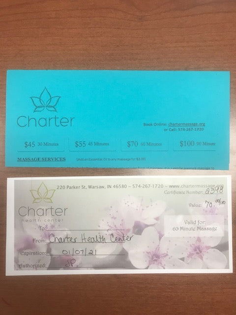 #148- Clearance Auction: Silent for Girls Gymnastics: Gift Certificate for 60 Minute Massage ($70 Value) - Tiger Apparel