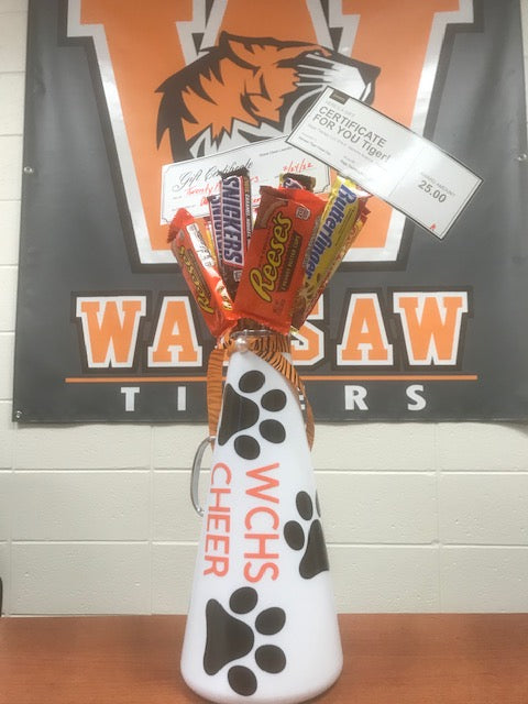 #232- Silent for Cheerleading: Candy arrangement w/a $25 Quick Clean Laundry & $25 Rage Therapy gift certificates (193) - Tiger Apparel