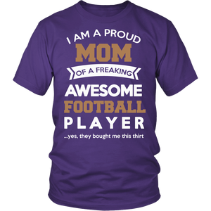 """Proud Mom of An Awesome Football Player"" T-Shirt"