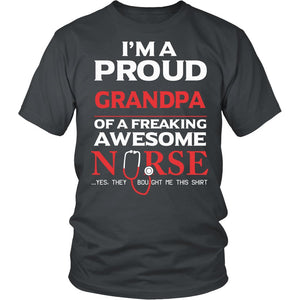 """Proud Grandpa of An Awesome Nurse"" T-Shirt"