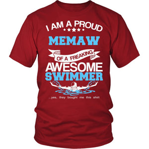 """Proud Memaw of An Awesome Swimmer"" T-Shirt"