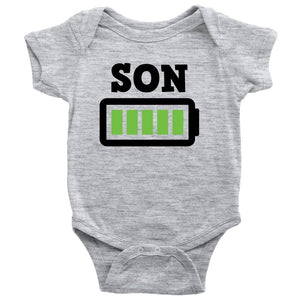 """Son Fully Charged"" Onesie and Shirts"