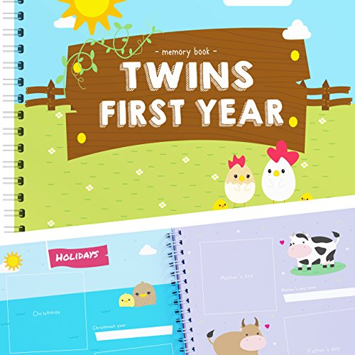 Twins First Year Memory Book with Stickers - Farm Edition