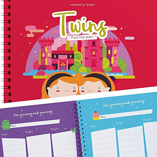 Twin Girls First Five Years Memory Book with Stickers