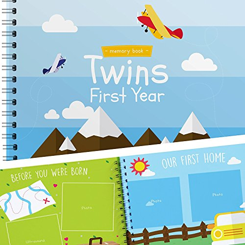 Twins First Year Memory Book with Stickers - Planes Edition