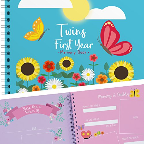 Twins First Year Memory Book with Stickers - Flowers Edition