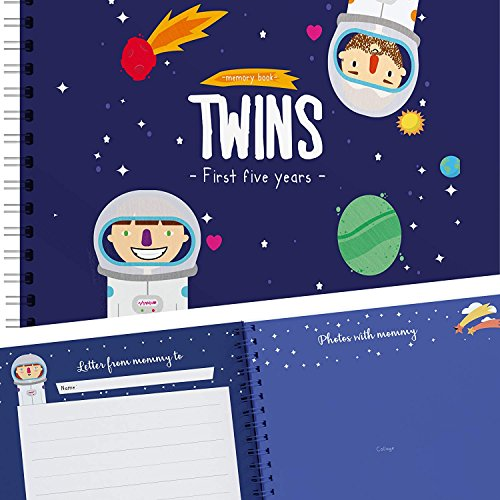 Twins First Five Years Memory Book with Stickers - Space Edition