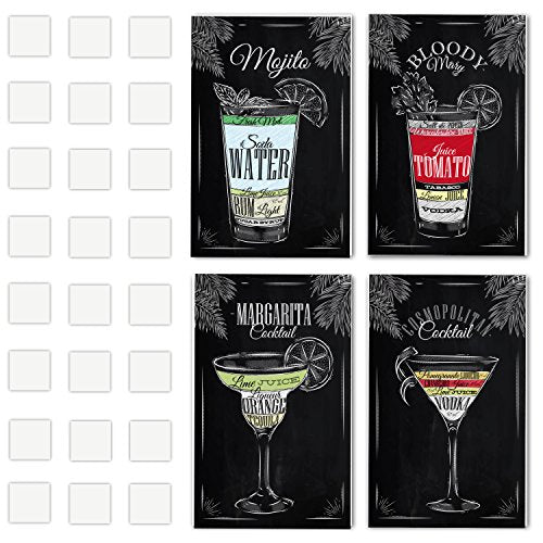 4 Vintage Chalkboard Decorative Poster Set Of Cocktails And Drinks