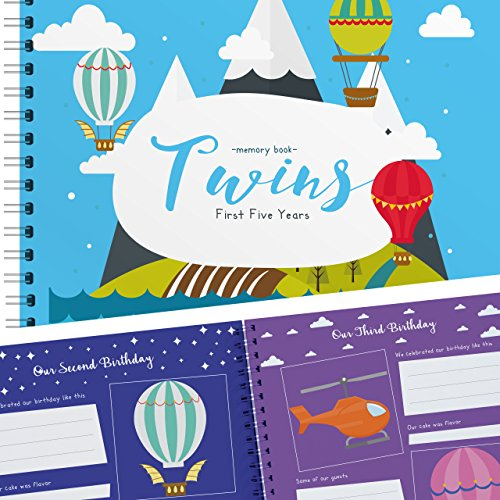 Twins First Five Years Memory Book with Stickers - Balloons Edition