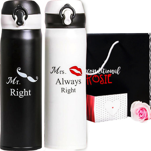 Wedding and Anniversary Gift Set of Two Matching Stainless Steel Flasks