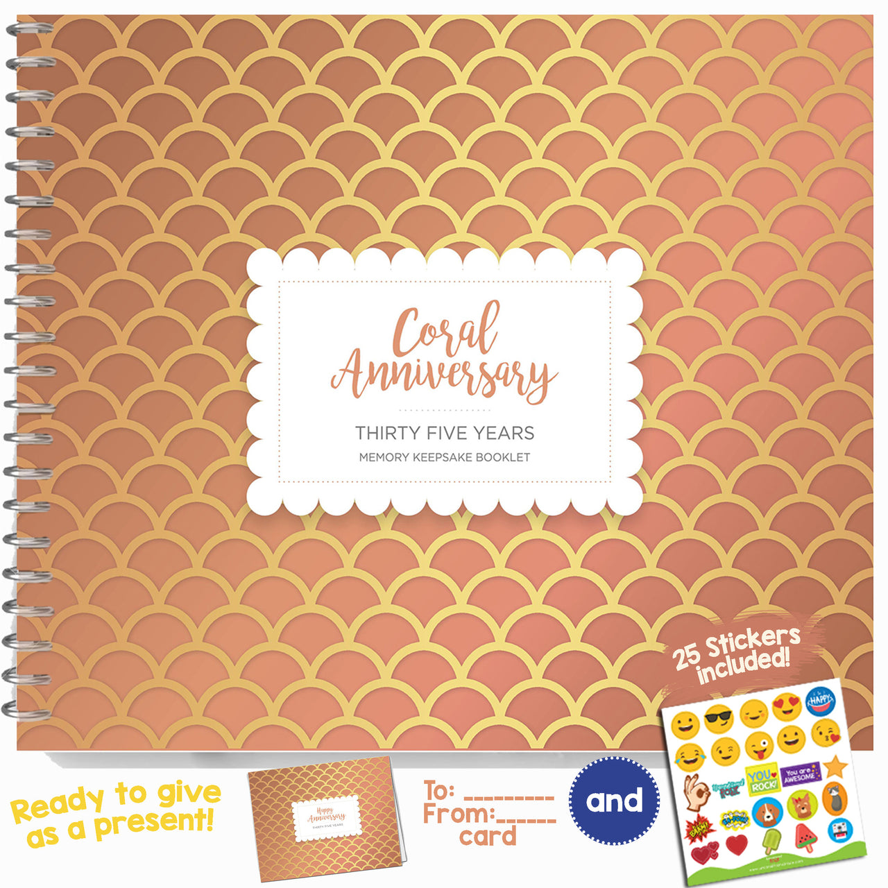 Booklet with Matching Card for Coral Anniversary