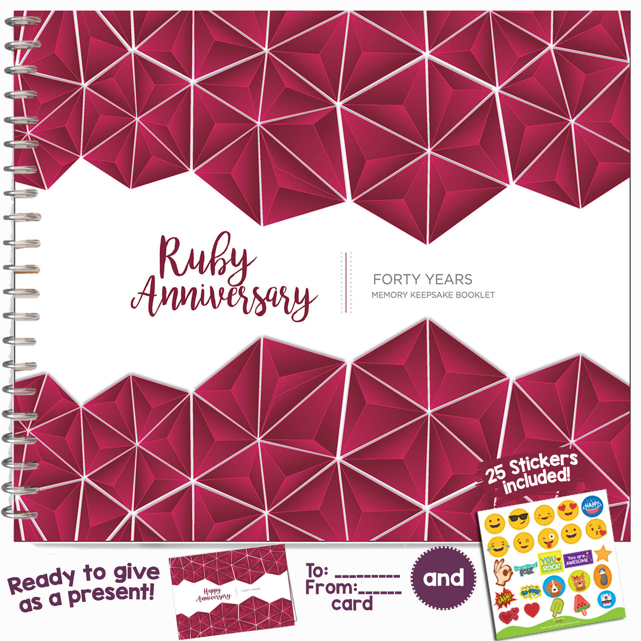 Forty Year Booklet with Matching Card for Ruby Anniversary