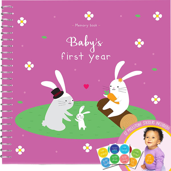 Baby's First Year Memory Book With 12 Milestone Stickers, Bunnies Edition