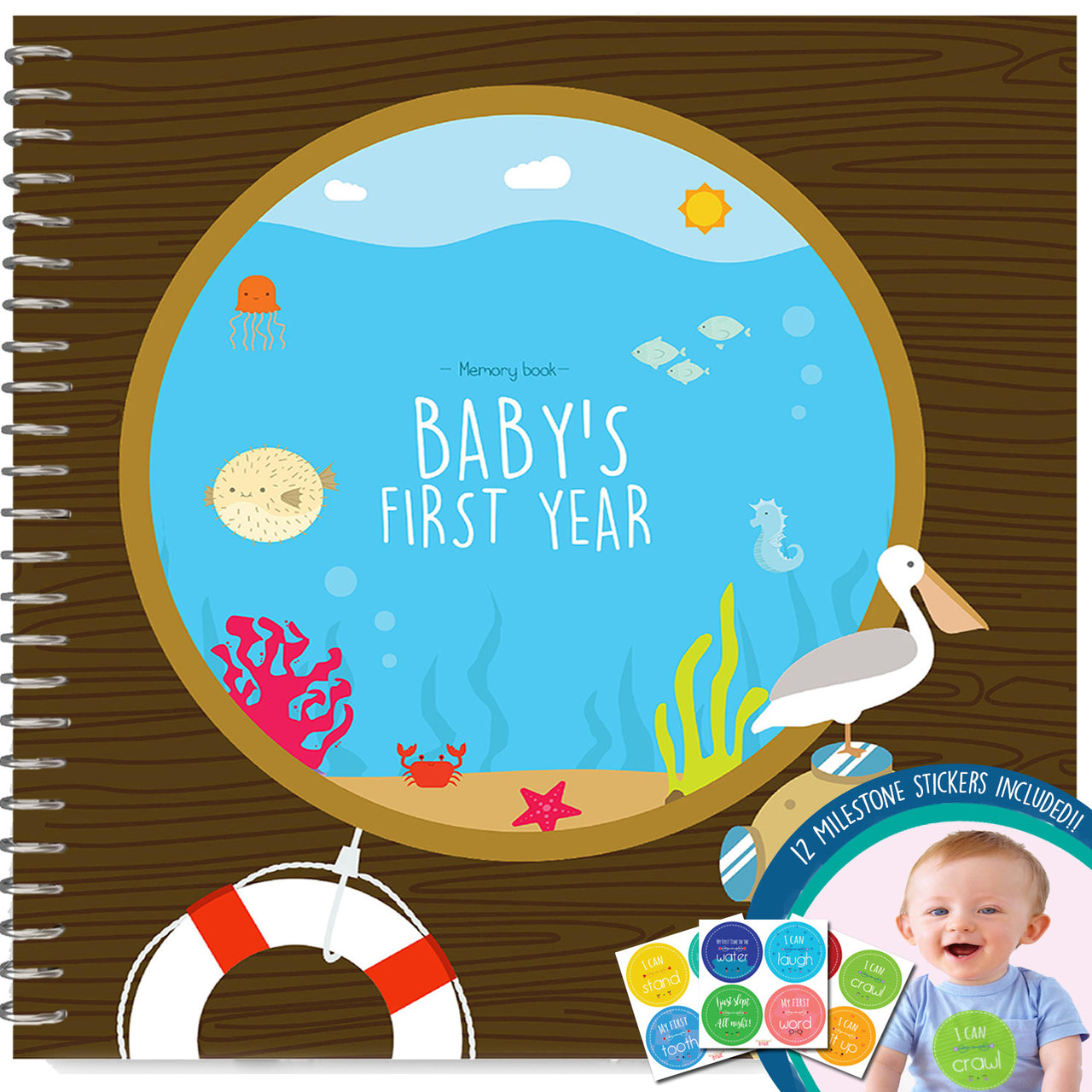 Baby's First Year Memory Book With 12 Milestone Stickers