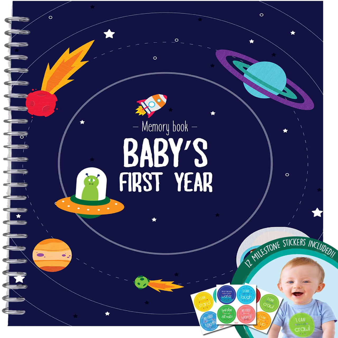 Baby Boy's First Year Memory Book, Space Edition