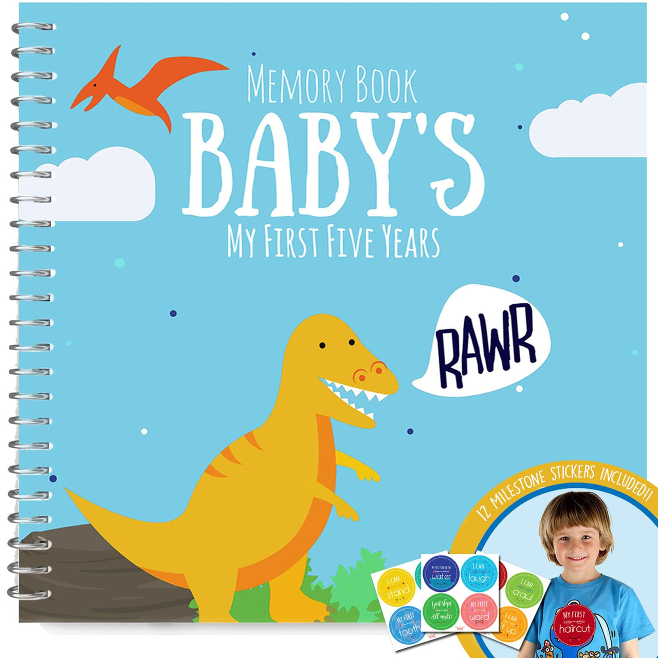 First Five Years Memory Book with 12 Milestone Stickers, Dinosaurs Edition