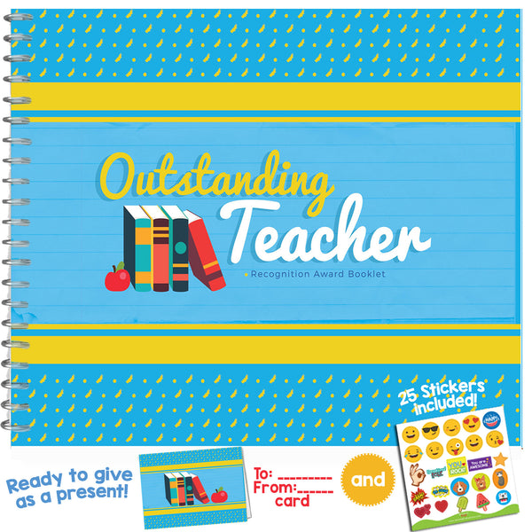 TEACHER GIFTS - Recognition Award for The Best Teacher Ever. Funny Memory Booklet with Stickers and Matching Card Included!