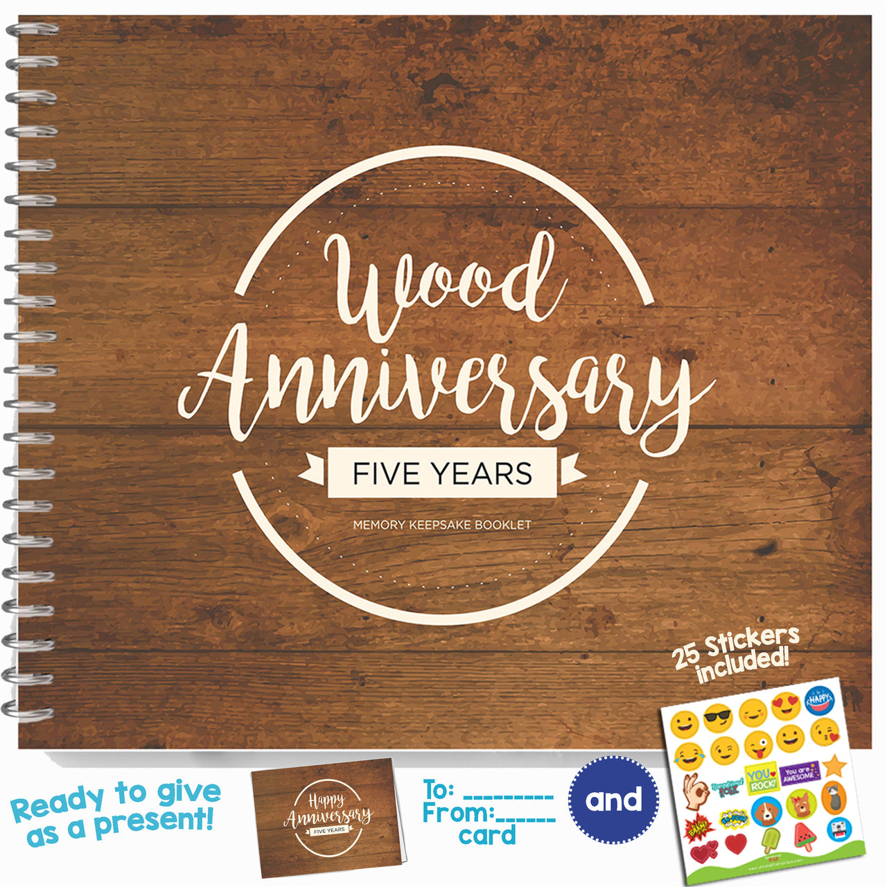 Five Year Booklet with Matching Card for Wood Anniversary