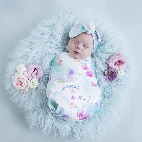 Sweet Petal Swaddle Sack & top knot - Jessie's Baby Boutique