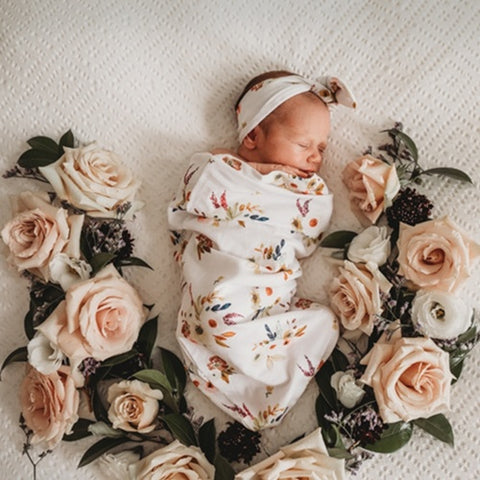 Boho Posy Petal Swaddle Sack & top knot - Jessie's Baby Boutique