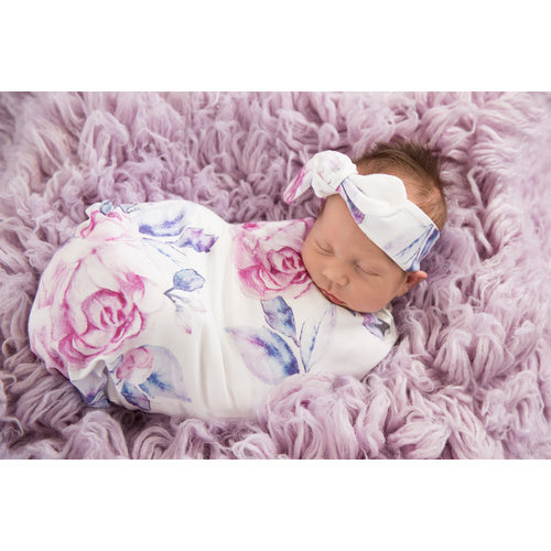 Lilac Skies Swaddle Sack & Top Knot - Jessie's Baby Boutique