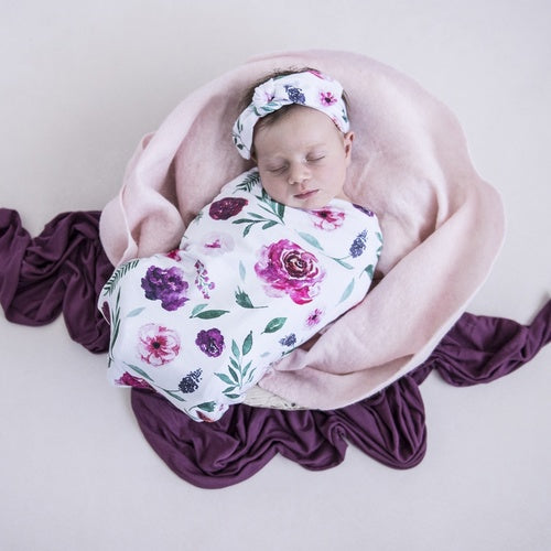 Peony Bloom Swaddle Sack & top knot - Jessie's Baby Boutique