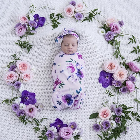 Floral Kiss Swaddle Sack & top knot - Jessie's Baby Boutique