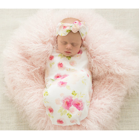 Hunny Blossom Swaddle Sack & Top Knot - Jessie's Baby Boutique