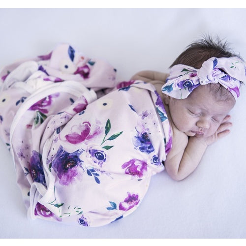 Floral Kiss Jersey wrap & Beanie - Jessie's Baby Boutique