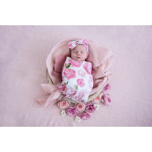 Sunset Rose Swaddle Sack & top knot - Jessie's Baby Boutique