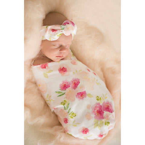 Hunny Blossom Jersey wrap & Beanie - Jessie's Baby Boutique